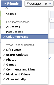 Under Settings you can select the granularity of updates: All, Most or important.